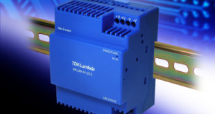 Low profile 88W DIN rail power supply conforms to Class 2 and Class II standards