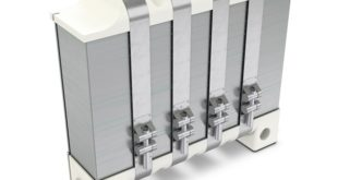 Stacked bipolar plates form the core of the fuel cell