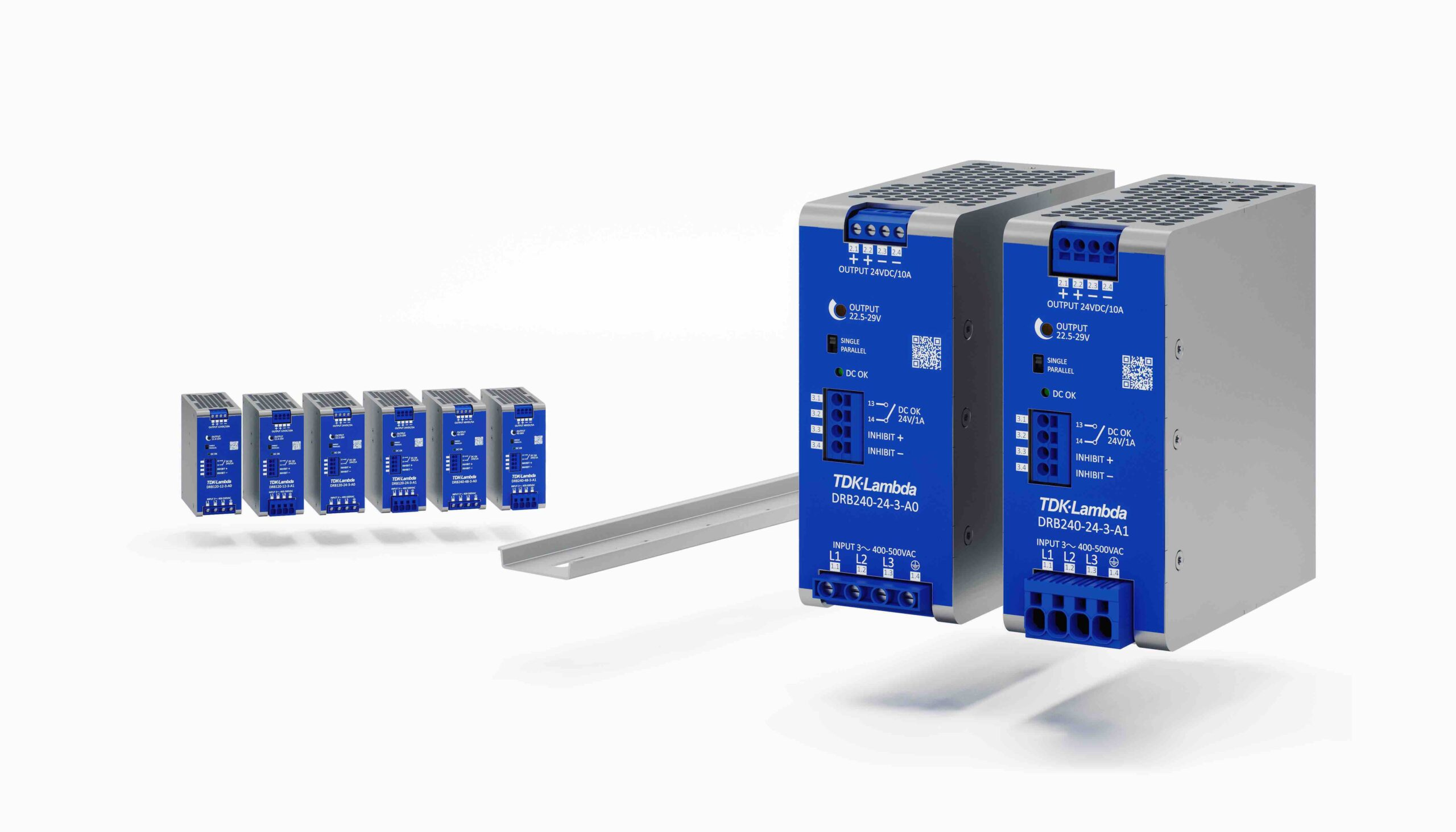 120W and 240W three-phase input DIN rail power supplies feature +20% peak power capability
